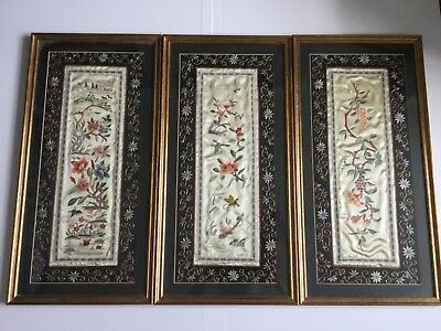 3 X Antique Vintage Chinese Framed Silk Hand Embroidered Panels
