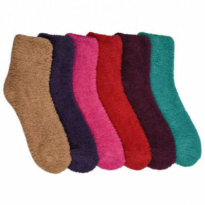 6 Pairs Super Soft Winter Slipper Cozy Fuzzy Soild Slipper Plush Socks 9-11 Lots