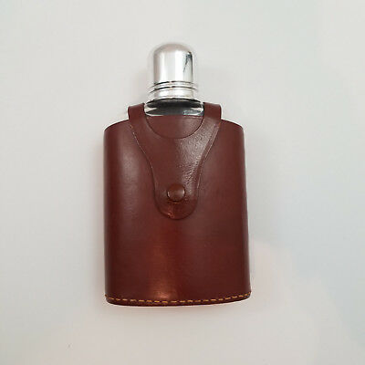 Vintage Glass Flask Real Hide Leather Cover Made in England