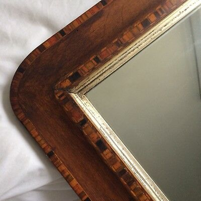Antique Wooden Intricate Inlaid Framed Mirror