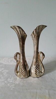 """Vintage Silver Plated Swan Bud Vase - 6.75"""" Tall Lot of 2"""