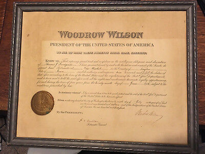 Woodrow Wilson president autograph postmaster Paterson NJ signed political doc