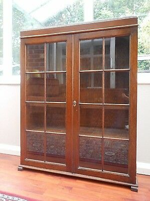 Vintage Solid Oak Book Case, Display Cabinet 16 Individual Glass Panes, Locking