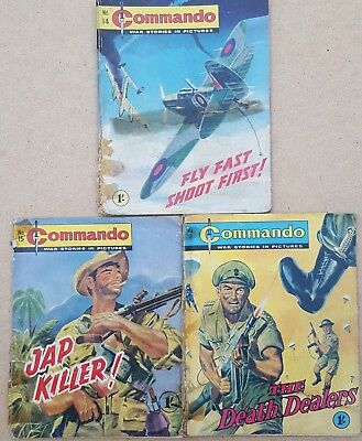 Vintage Commando comic issues #14 , 15 & 19 Low grade