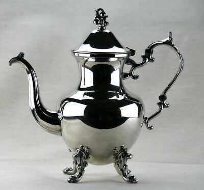 REDUCED!! Antique Birmingham Silver on Copper Coffee Pot - 4 footed