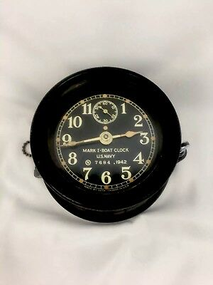 Mark I- Boat Clock WWII 1942 U.S. Navy Ship Boat Deck Clock 7684 With Base Deck