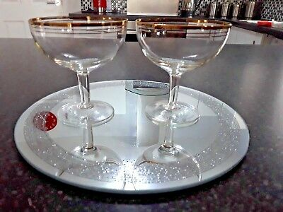 2 X Vintage Art Deco Champagne Glasses Saucers Coupes Gold Banding Short Stems