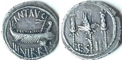 Scarce And Beautiful Marc Antony Legionary Denarius !  Wonderful Toning & Detail