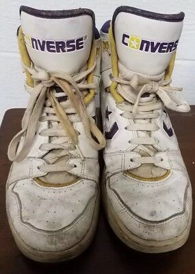Original Vintage 80s L.A. Lakers Converse High Top Sneakers, Size 11 Shoes NBA