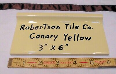 "1 pc. *Vintage Yellow* stack-on base/cove Ceramic Tile by Robertson Co.  3"" X 6"""