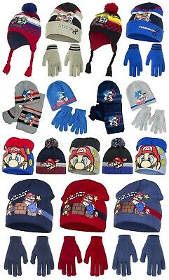 Boys Super Mario Sonic The Hedgehog Winter Hat Glove Set 4 5 6 7 Years Fleece