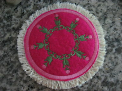 A Touch of Fancy 1/12 Pink Long Stemmed Roses Mini Rug for Miniature DollHouse