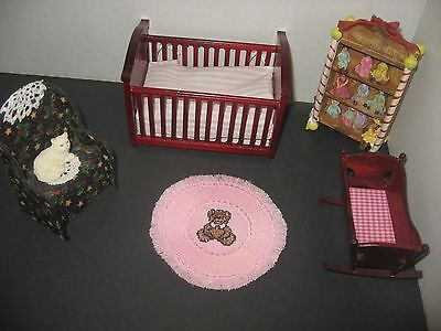 Sweet Bear With Pink Tie Mini Rug On Pink Linen Miniature Doll House