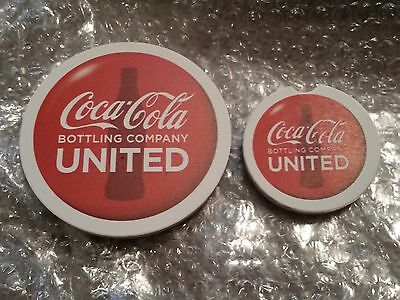 Coca-Cola United Promo Ceramic Coaster Set - 1 Large, 1 Small - NEW