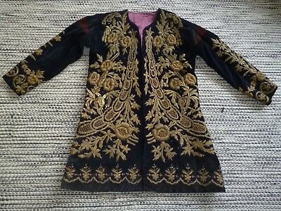 STUNNING ANTIQUE 19th CENTURY COAT VELVET BROCADE HAND EMBROIDERED OTTOMAN