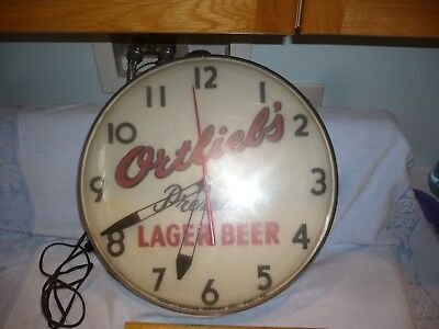 vintage ortlieb's premium lager beer advertising clock