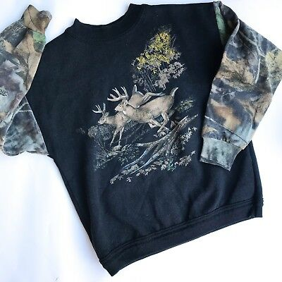 VTG Kids 80s 90s Deer Camo Fall Autumn USA Kitsch Sweatshirt Jumper Retro 4 5 Y