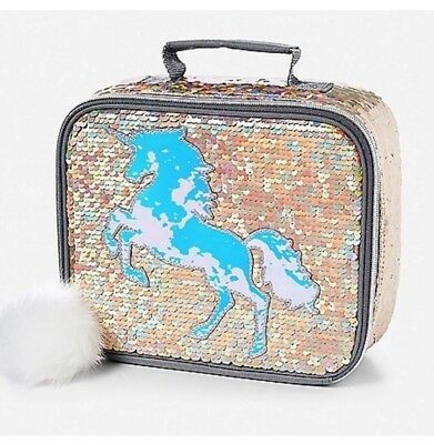 Justice Unicorn Lunch Tote Flip Sequin Gold Unicorn Insulated Bag NWT