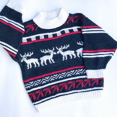 VTG Kids 90s Deer Fugly Xmas Fair Isle Christmas Sweatshirt Jumper Retro 2 3 Y