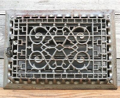 Antique Cast Iron Heat Grate with Louvers ~ Vintage Heat Vent / Wall Register