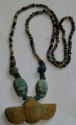 "Egyptian Pharaoh's Necklace, Mummy Beads Terracotta 28"", Beetle Scarab/F1"