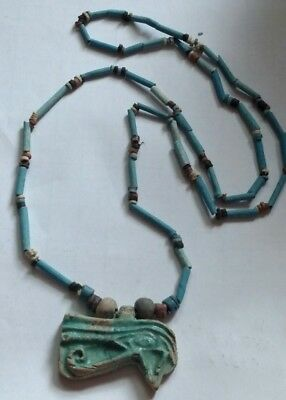 "Egyptian Pharaoh's Necklace, Mummy Beads Terracotta 30"", HOURS EYE Protection/S"