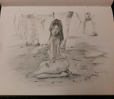 Framed Art: Original 8x10 pencil drawing of nude latin woman done by ARTuro