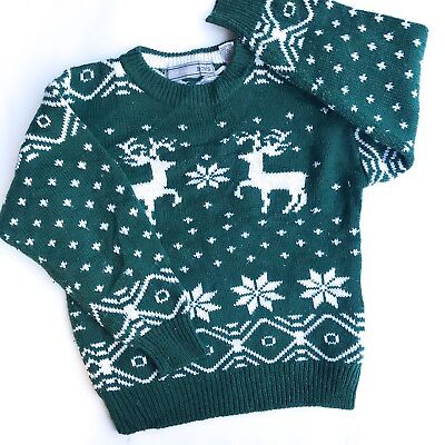 VTG Baby 80s 90s Deer Xmas Fair Isle Christmas Sweatshirt Jumper Retro 4-5 Y