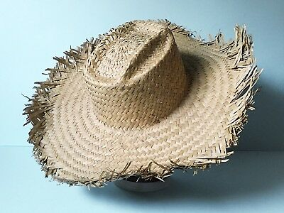 Vintage Unisex Large Mexican Style Straw Hat 1970's