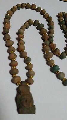 "Queen Cleopatra Egyptian Necklace, Mummy Beads Hand Beaded Terracotta 32""/J1"