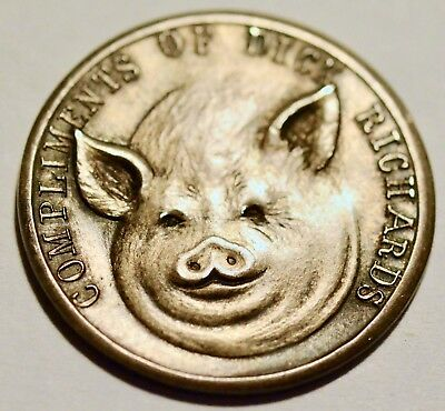 Vintage Flip Coin Heads Tails Pig Sterling Silver Compliments of Dick Richards