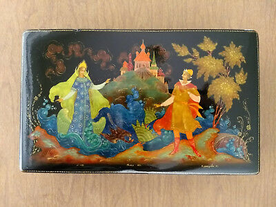 """Large 8x5 in Russian Lacquer Box Palekh """"The Swan Maiden"""" USSR Signed Dated 1974"""