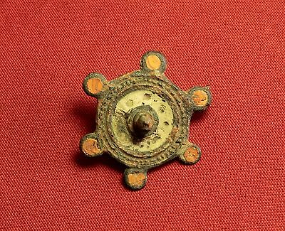 Ancient Roman Enameled Disc Fibula or Brooch, 3. Century
