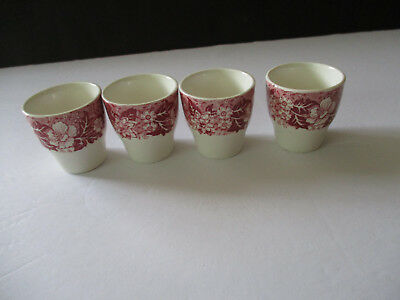 Vintage 4 Palissy Pottery Egg Cups--Thames River Scene