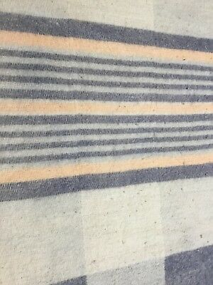 Two Antique Wool BLANKETS Coverlet Primitive Stripes