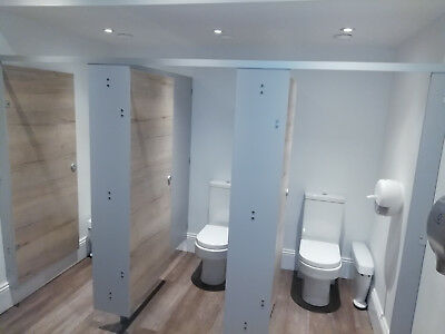 Solid Grade Double Toilet/Shower Cubicle Between Two Walls