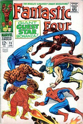 Fantastic Four #73 - Daredevil, Spider-man and Thor appear-MARVEL SILVER AGE