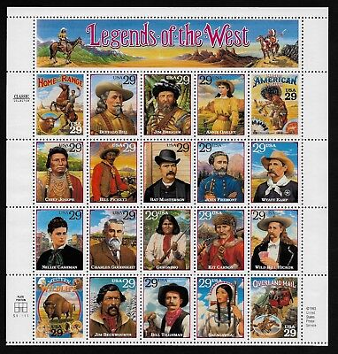 #2869 29c Legends of the West - Sheet of 20 MNH
