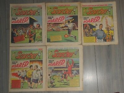 Lot Of 5 Scorcher  Football  Comics ,  1970 , Billys Boots . Bobby Of The Blues