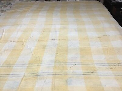 Antique Yellow Wool BLANKET Coverlet Primitive Stripes
