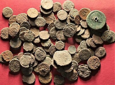 Lot of 100 Ancient Roman Bronze Fragment Coins, AE3, AE4 #2