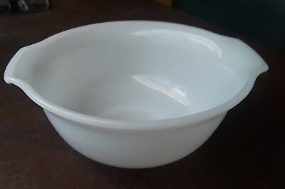 Glasbake White Milk Glass Mixing Bowl With Handles Made For Sunbeam 7 inch
