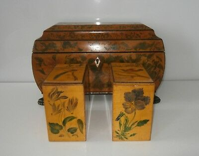 Exceptional Antique Regency Penwork & Painted Work Of Art Tea Caddy c1800