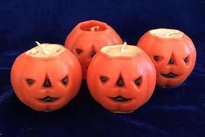 FUN Set 4 Vintage HALLOWEEN Smiling JACK-O-LANTERN Made in USA by GURLY CANDLES