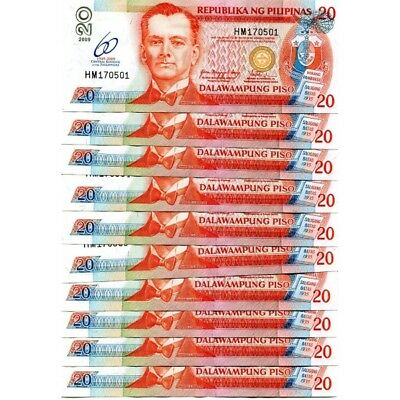 Philippines 20 Pisos 2008 P-182I Unc Lot 10 Pcs