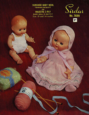 """VINTAGE  KNITTING  PATTERN COPY TO KNIT FOR DOLLS - FOR 10 & 14"""" DOLLS - 1950's"""
