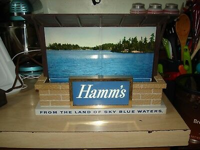 Vintage Lighted Hamm's Beer Sign Cabin By The Lake In Good Working Condition.