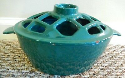 Vintage Signed JOHN WRIGHT Cast Iron Green Enamel Stove Top Steamer Dish w/ Lid