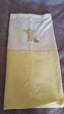 Winnie The Pooh Yellow And Cream Cotbed Fleece Blanket