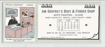 vintage INK BLOTTER JIM GODFREYS BODY & FENDER SHOP LOS ANGELES CA 1952 CALANDER